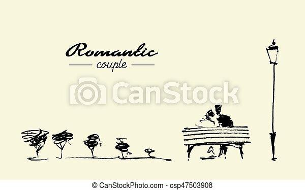 Line Art Couple : Business couple with broken heart sign vectors search clip art
