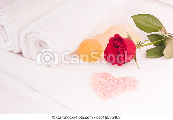 Romantic Spa Getaway With Heart Shaped Pink Bath Salts And Rose On A Bed Close Up Canstock