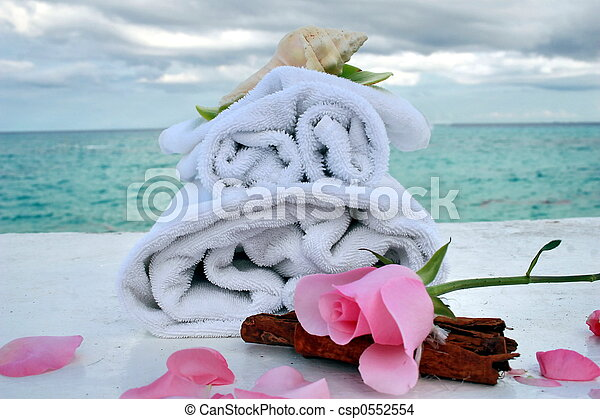 romantic spa with ocean - csp0552554