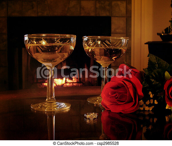 romantic still life engagement ring 2 champagne glasses