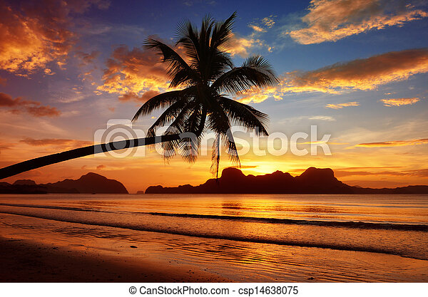 Romantic sunset with views of the islands - csp14638075