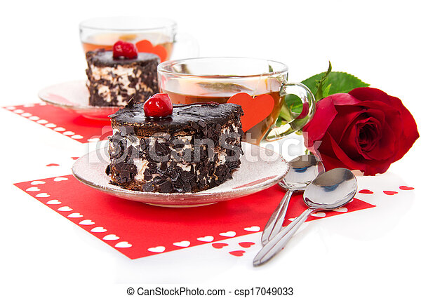 Romantic table laid for two cake, tea and rose - csp17049033