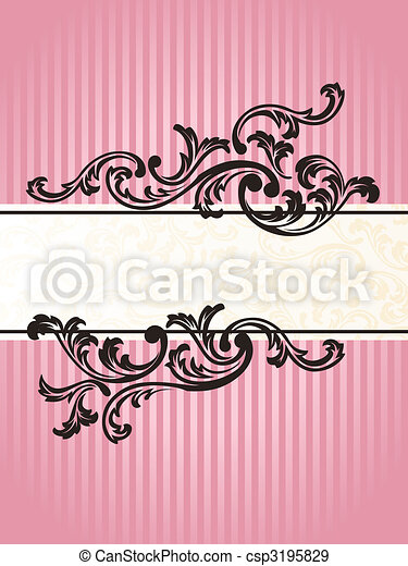 Romantic vertical French retro banner in pink - csp3195829
