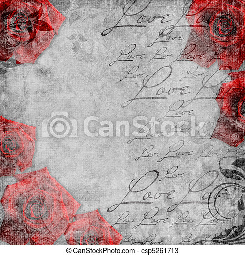 Romantic  vintage background in scrapbooking style  (1 of set) - csp5261713