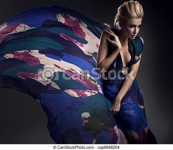 romanticos, loiro, coloridos, vestido, foto, desgastar - csp6846204