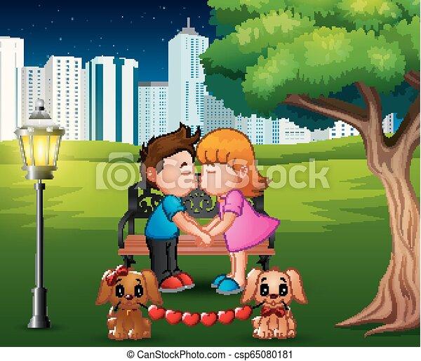 romantique, parc, couple, arbre, sous, baisers, dessin animé - csp65080181