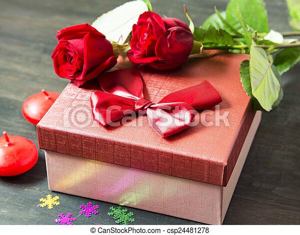 romantique, roses, s, jour, présent, valentine' - csp24481278