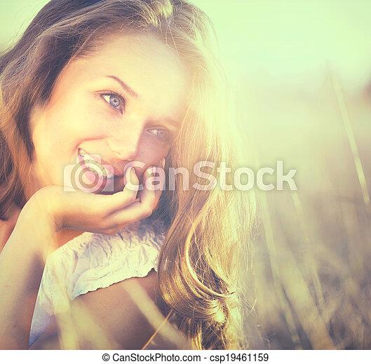 romantische, beauty, natuur, fris, meisje, outdoors. - csp19461159
