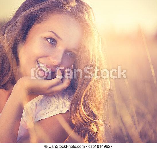 romantische, beauty, natuur, fris, meisje, outdoors. - csp18149627