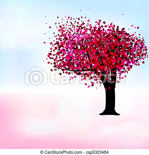 romantisk, eps, träd, passion, mall, 8, card. - csp5323484