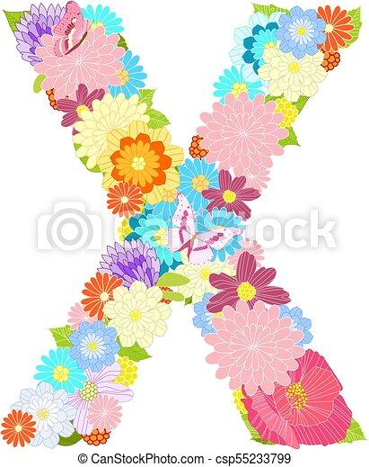 Romantyk Motyle Litera X Kwiaty łąka