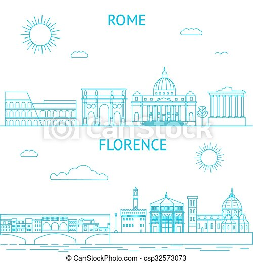 Rome and Florence vector line illustrations. Rome and Florence skyline. - csp32573073