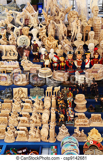 ROME - AUGUST 3: Souvenirs and gifts kiosk in Rome, Italy on August 3, 2010. According to the Ministry of foreign affairs, every year foreign travelers spend over 30 billion euro in Italy  - csp9142681
