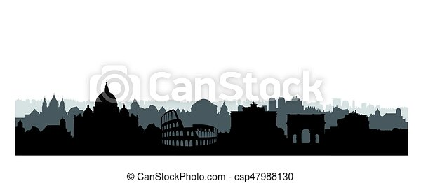 rome city buildings silhouette italian urban landscape rome cityscape with landmarks travel italy