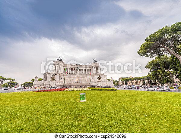 Rome, Italy. Equestrian monument to Victor Emmanuel II near Vitt - csp24342696