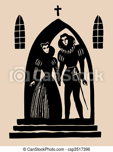 romeo and juliet secret alter etching rh canstockphoto com romeo and juliet clipart romeo and juliet black and white clipart