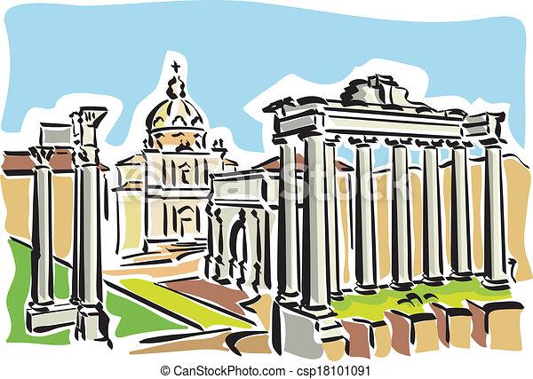 romersk, rom, (ancient, forum) - csp18101091