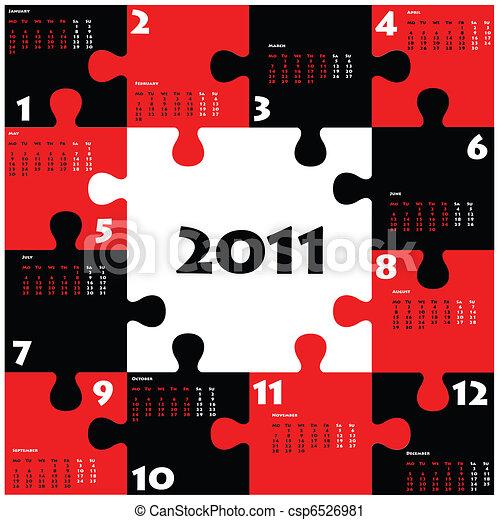 Calendario de rompecabezas para 2011 - csp6526981