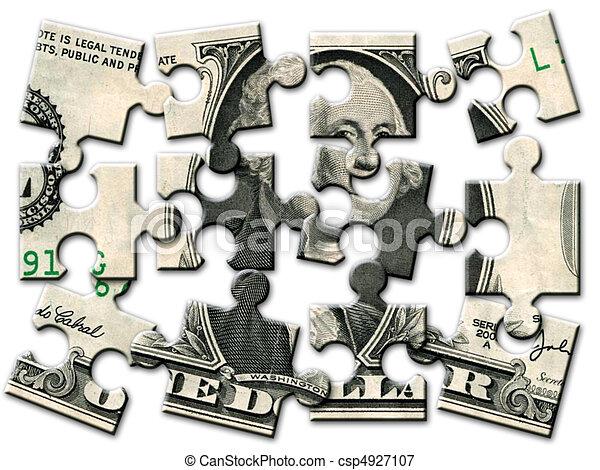 Un rompecabezas de billetes de un dólar - csp4927107