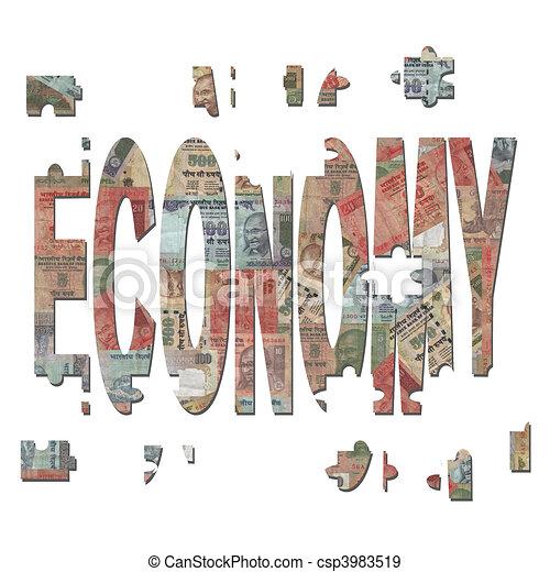 rompecabezas, economía, indio, pedazos - csp3983519