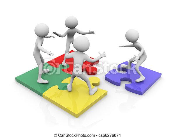 Trabajo de equipo de rompecabezas - csp6276874