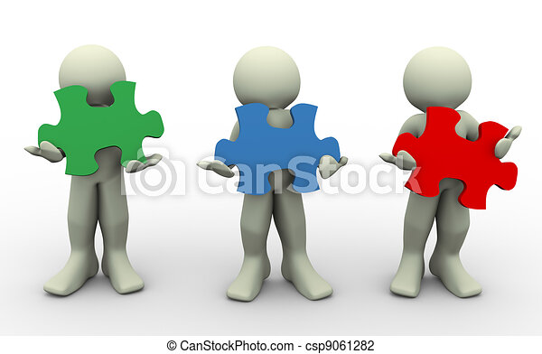 3D personas con rompecabezas de paz - csp9061282