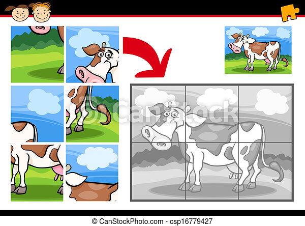 Juego de rompecabezas de vaca de dibujos animados - csp16779427