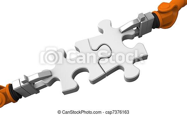 Robot sosteniendo rompecabezas - csp7376163