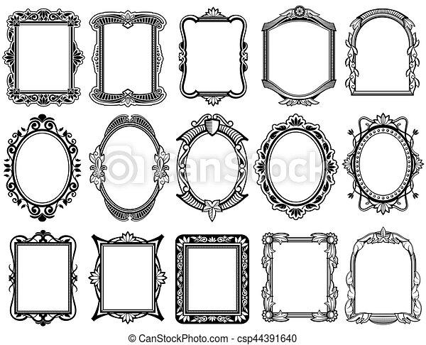 rond vendange rectangulaire vecteur victorien cadres baroque ovale vecteur rond. Black Bedroom Furniture Sets. Home Design Ideas