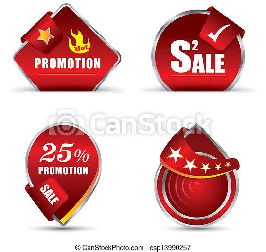 rood, bevordering, label - csp13990257