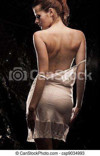 roodharige, sensueel, meisje - csp9034993