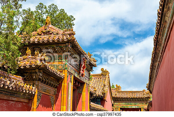 roof decorations in the forbidden city beijing china