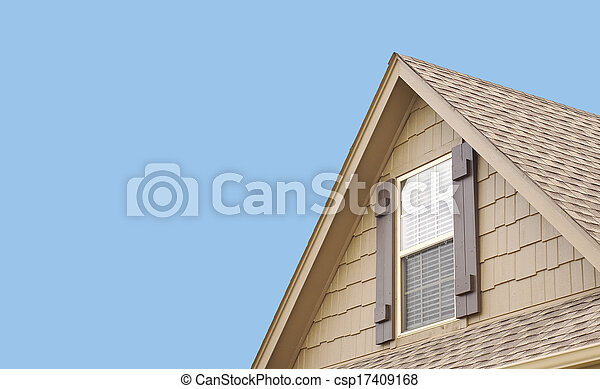 Roof gable with window and shutters - csp17409168