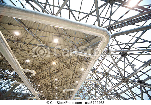 Roof of building from inside: extinguishing system and lighting. Frame of steel structures. - csp5722468