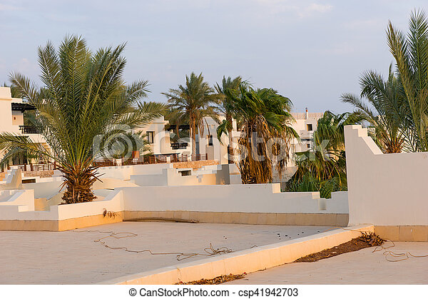 Roof of houses in ?rabic style and palm trees in the yard - csp41942703