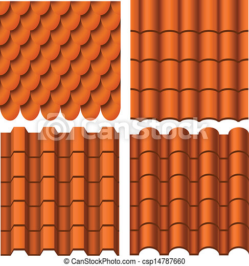 Roof Pattern Set Isolated On White