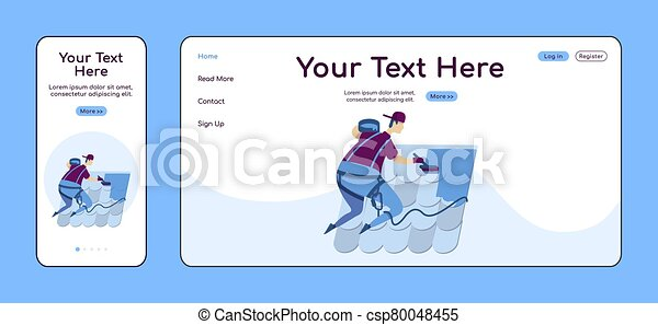Roof repair service adaptive landing page flat color vector template. Handyperson mobile and PC homepage layout. Repairman one page website UI. Home repairs webpage cross platform design - csp80048455