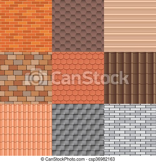 Roof tiles and roof texture vector set. - csp36982163