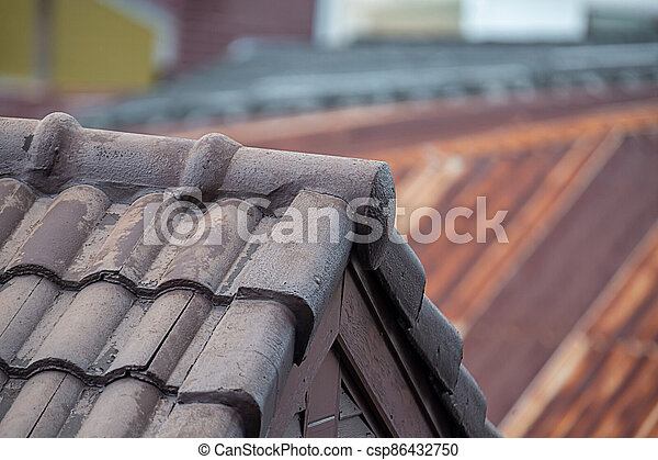 roof top view, gray tiled, old and ribbed - csp86432750