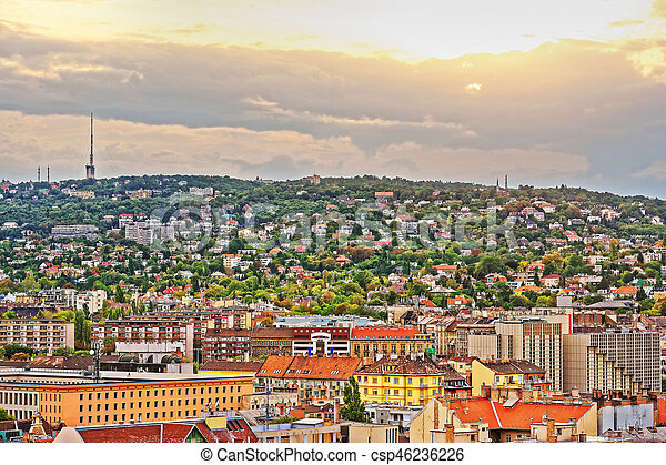 Roof top view of city center in Budapest - csp46236226