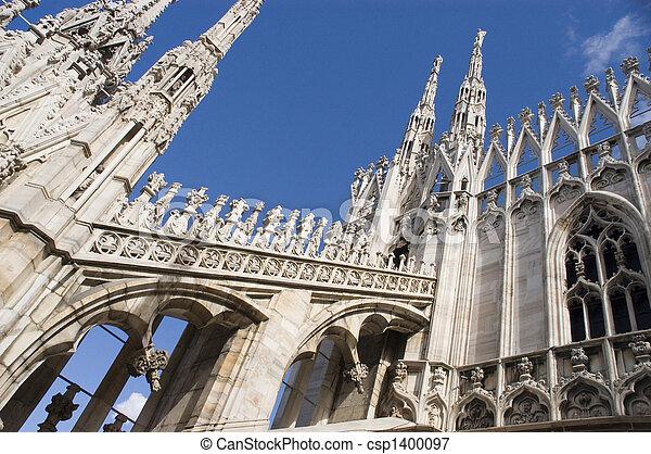 Roof top view of Duomo, Milan, Italy - csp1400097