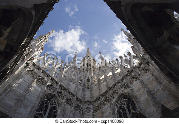 Roof top view of Duomo, Milan, Italy - csp1400098