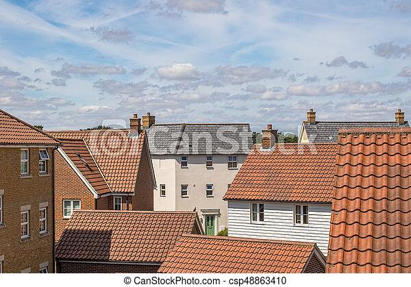 Roof top view of modern urban housing estate. - csp48863410