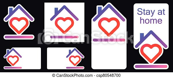 Roof under heart social media stickers. - csp80548700