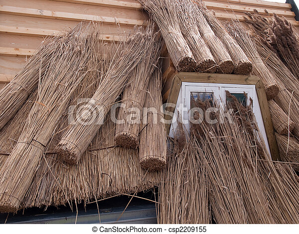Roofing A House With Traditional Thatched Straw Roof   Csp2209155