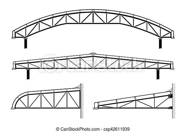 Roofing building,steel frame,roof truss collection, vector illustration.