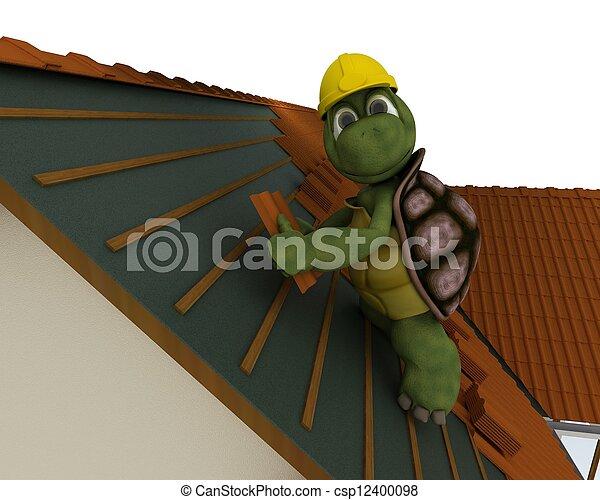 roofing, schildpad, aannemer - csp12400098