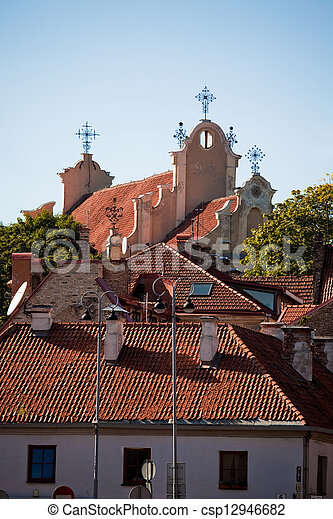 Roofs of churches and houses - csp12946682