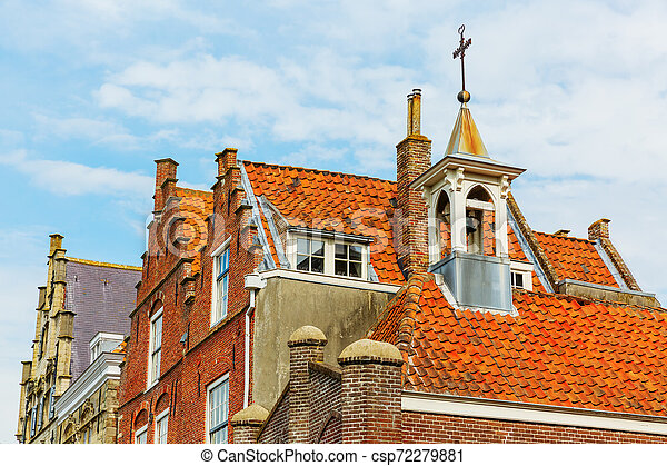 roofs of historic houses in the medieval town of Veere, Netherlands - csp72279881