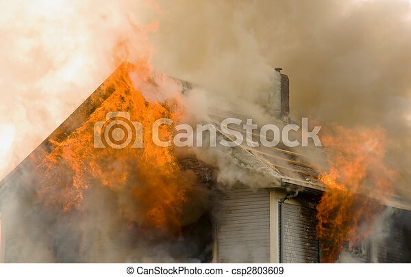 Rooftop house fire - csp2803609